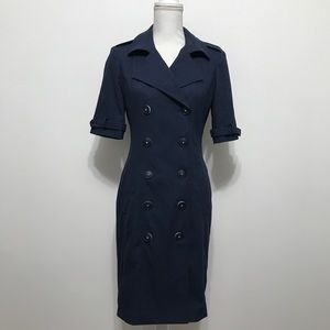 Paule Ka Navy Blue Double Breasted Collared Dress